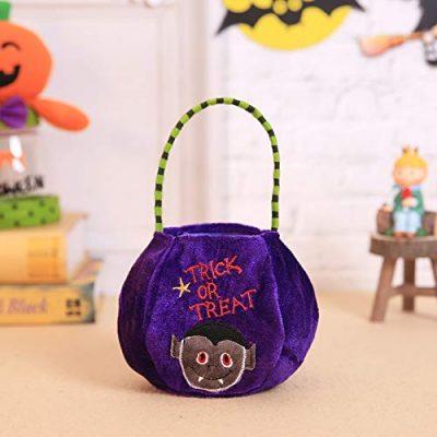 Bolsa para caramelos de Halloween morada de vampiro