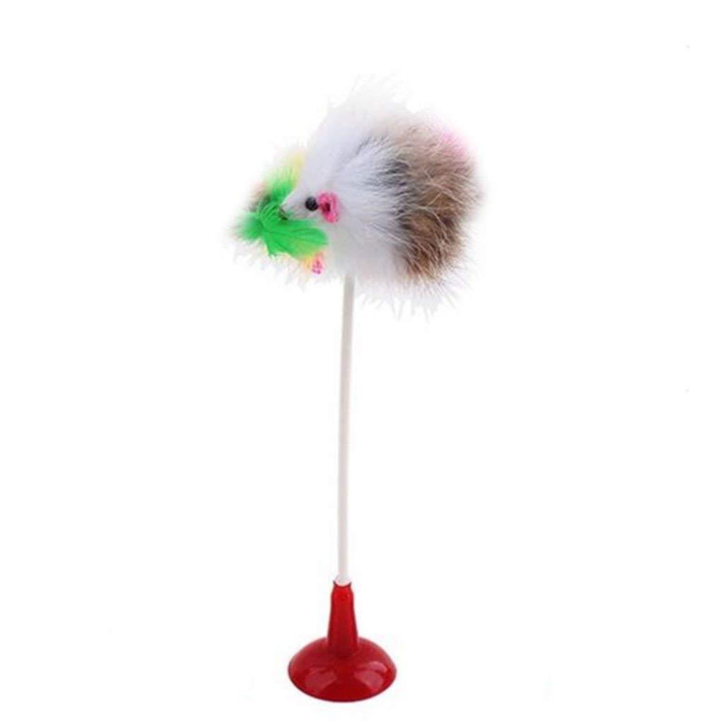 Bobury 20CM Ratón en forma de Juguetes de lechón con plumas de cola Juguetes para los gatos de color al azar