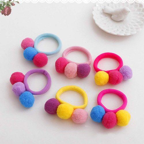 Set de 6 gomas para el pelo con bolas de colores