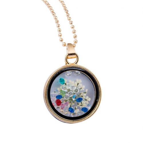 Kinlene Collares Pendientes de Flores Redondas de Vidrio Redondo de Mujer Collar de Diamantes de Imitación (Blanco)
