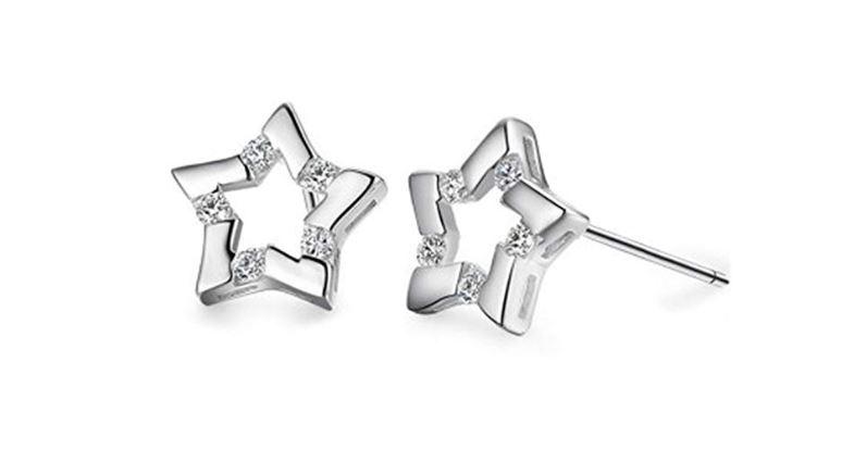 Aloiness - Pendientes de plata con circonita y diseño de 5 estrellas