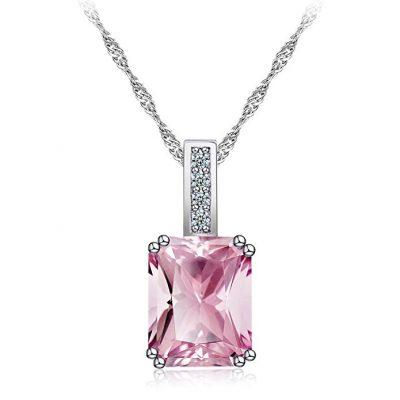 Collar de plata con circonita rosa