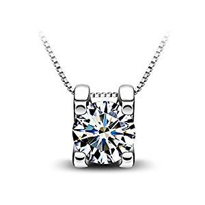 Collar Plata de Ley 925 3A Circón Con Platino para Mujer con Caja Hermosa by Bravetzx