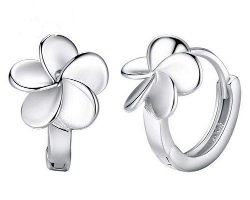 Pendientes de aro con forma de flor de 5 pétalos