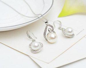 Collar y pendientes de plata con perla blanca