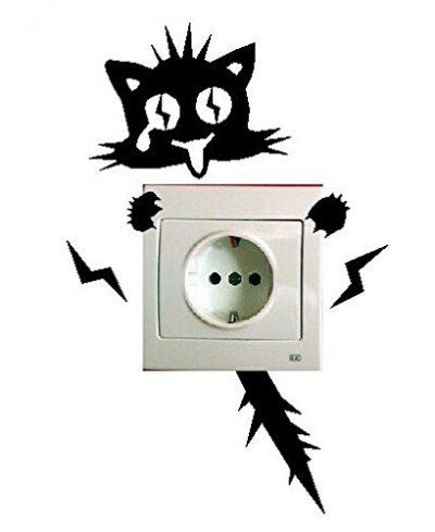 Vinilo decorativo de un gato electrocutado