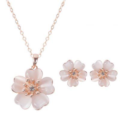Collas y pendientes de flor de 5 petalos