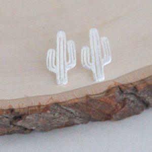 Pendientes de plata cactus del desierto