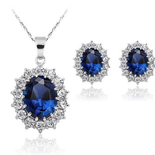 Conjunto de collar y pendientes de zafiro azu
