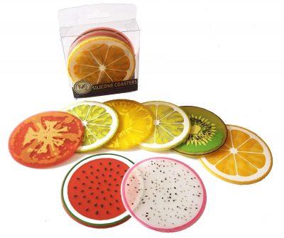 Conjunto de posavasos de frutas variadas
