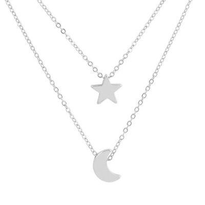Collar de plata de doble capa luna y estrella